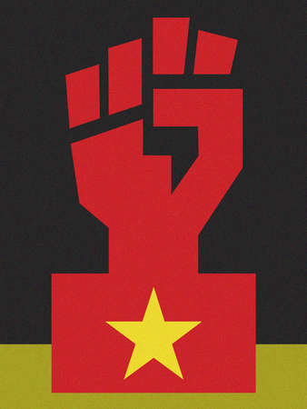 Red fist with symbol of Chinese flag