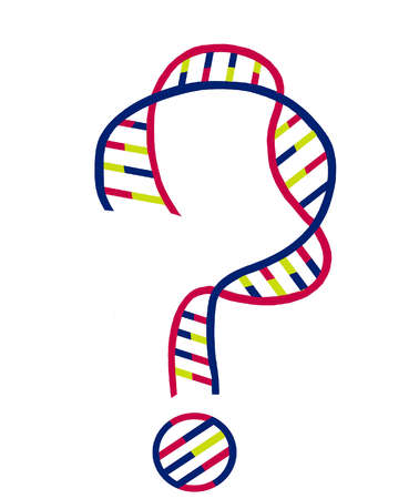 DNA double helix in the shape of a question mark.