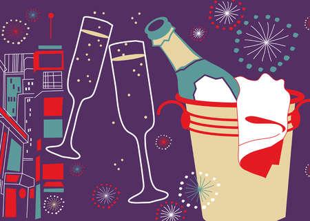 New Year celebration with ice bucket, champagne, champagne glasses and fireworks