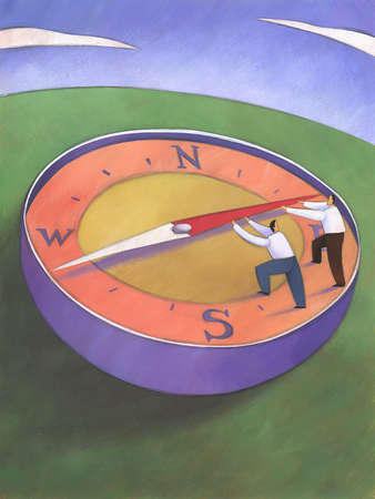 Businessmen pushing the needle of a compass