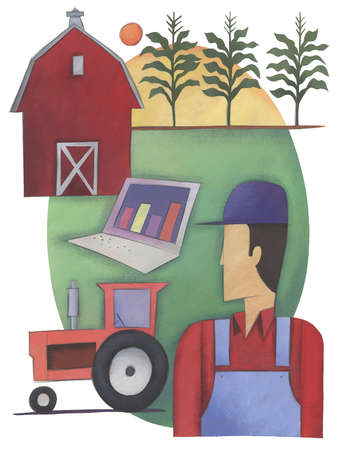 Farmer, farm and laptop showing growth graph
