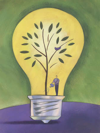 Man in a lightbulb watering a tree