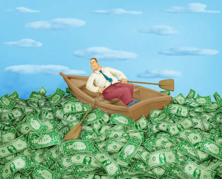 Man in rowboat in a sea of money
