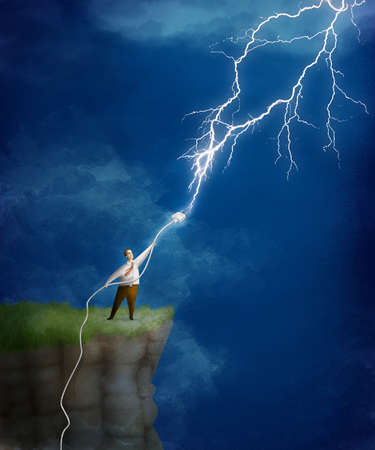 Man on mountaintop connecting a power plug to a bolt of lightning