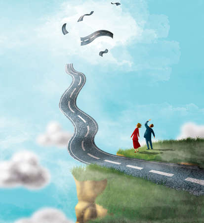 Couple watching a road go off a cliff and disintegrate