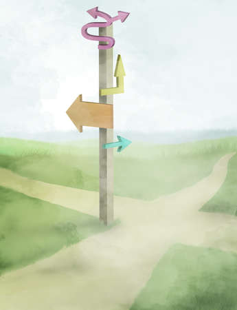 Sign post at a crossroads with arrows in all directions