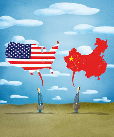 Two businessmen with speech bubbles in the shape of the United States and China