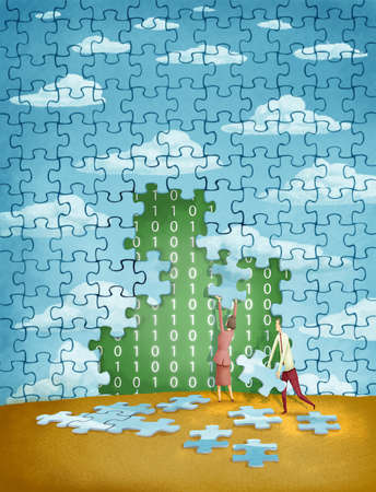 Businessman and businesswoman covering binary code with a blue sky puzzle