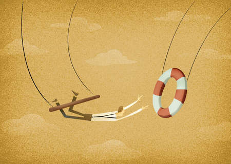 Man an a trapeze winging to a life preserver