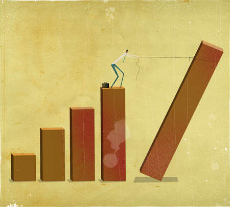 businessman trying to lasso a falling bar graph