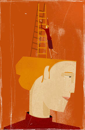Woman with ladder climbing out of her own head