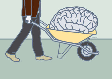 Man carrying brain in a one wheeled cart