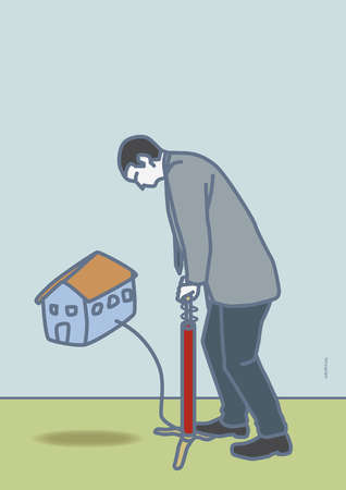 Man using air pump to lift house off the ground