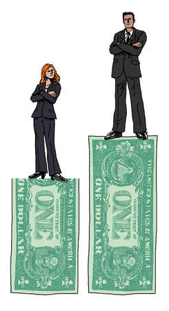 businesswoman and business man standing atop different sized dollars