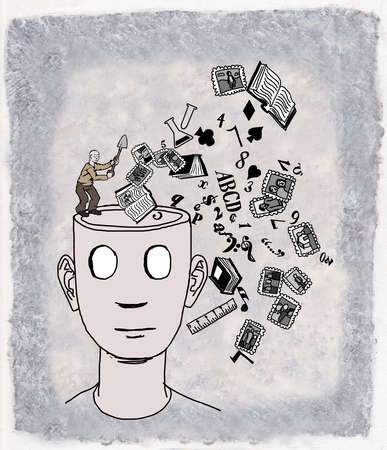 A head with no eyes being emptied of information