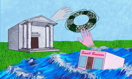 Bank throwing a life preserver to a sinking small business