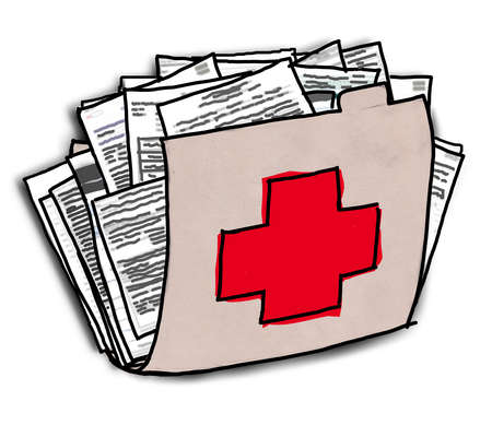 Folder with red cross full of papers