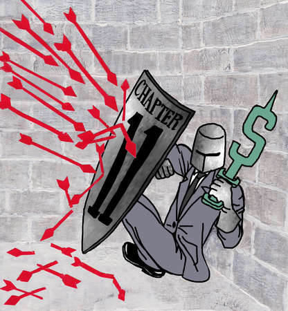 Businessman with armor holding up dollar sign while holding a shield to protect himself from red arrows