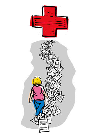 Person on a path of paperwork leading to a red cross