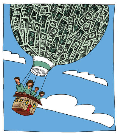 Family in a hot air balloon made of a house and money