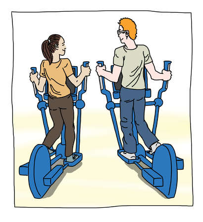 Man and woman on ellipticals
