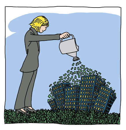 Businesswoman watering buildings with money
