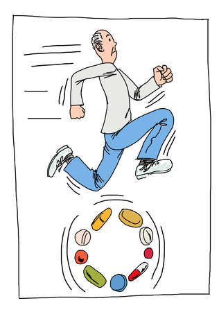 Man running and fueled by an assortment of pills