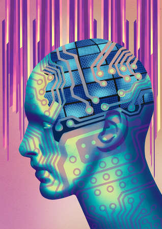 Profile of man's head as a series of circuit boards