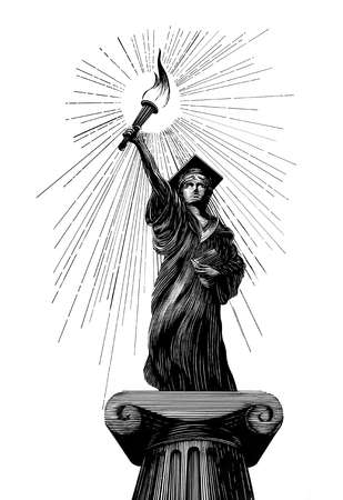 Graduate on a pedestal holding a lit torch and a book