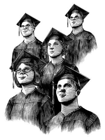 Group of graduates in caps and gowns looking into the future