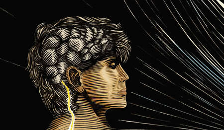 Profile of man with bolt of lighting entering his brain