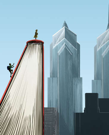 Students scaling a text book in the shape of a skyscraper