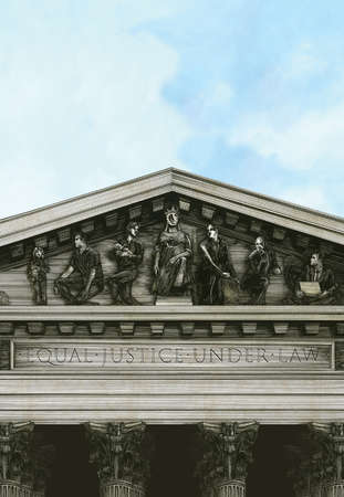 Justice building with frieze representing a diverse group of people
