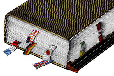 A book with place holders made of international flags