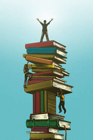 Group of students climbing a stock of books