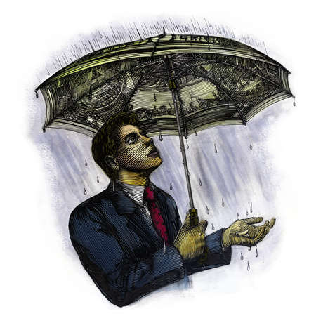 Man under a money umbrella in a rain storm