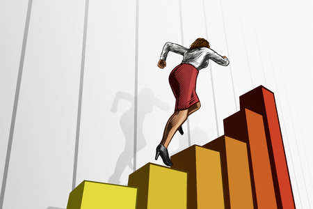 Female executive climbing up a bar graph