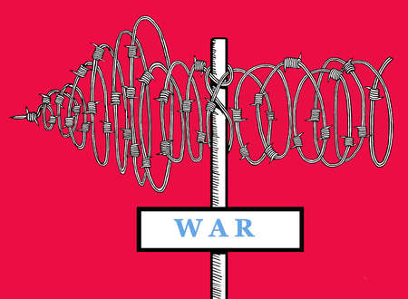 Directional sign with the word war and an arrow made of barbed wire