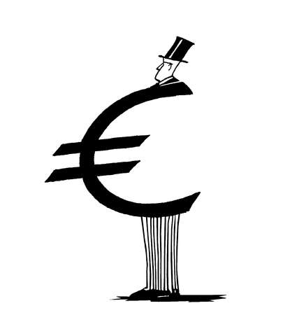 Obese businessman with the euro symbol as his stomach