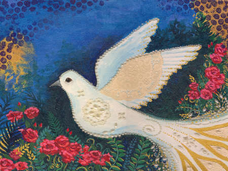Dove flying amid flowers