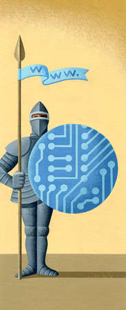 Executive dressed as a knight in shining armor with www flag and shield made of a circuit board