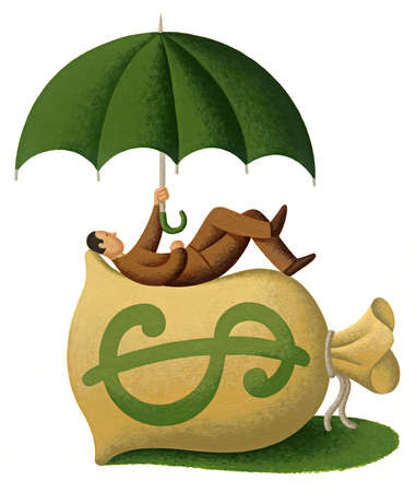 Man under an umbrella sitting atop a bag of money