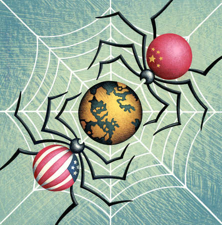The United States and China as spiders with earth caught in their web