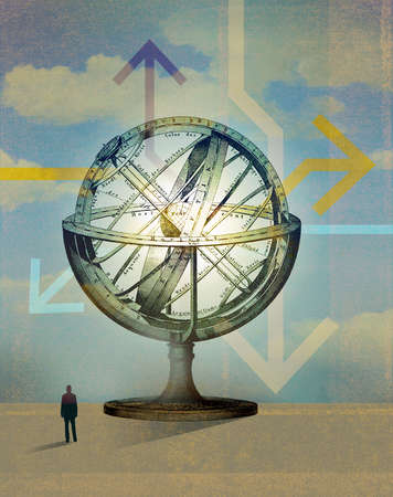 Silhouette of man looking at a navigational globe with arrows pointing in different directions