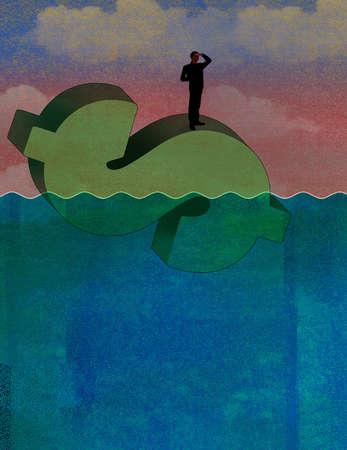 Man in silhouette on the ocean on top of floating dollar sign and looking ahead