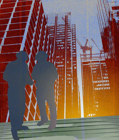 Silhouette of two men in hard hats at high rise construction site