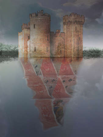 Castle with a house of cards reflection