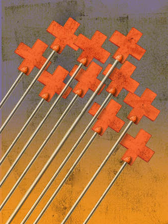 Group of red crosses on poles