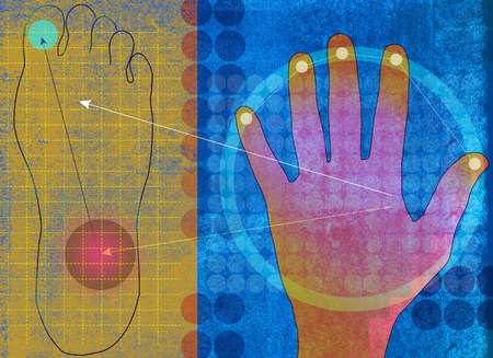 Acupuncture points on hand and foot