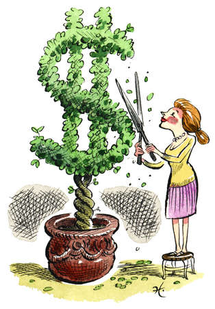 Woman pruning money tree